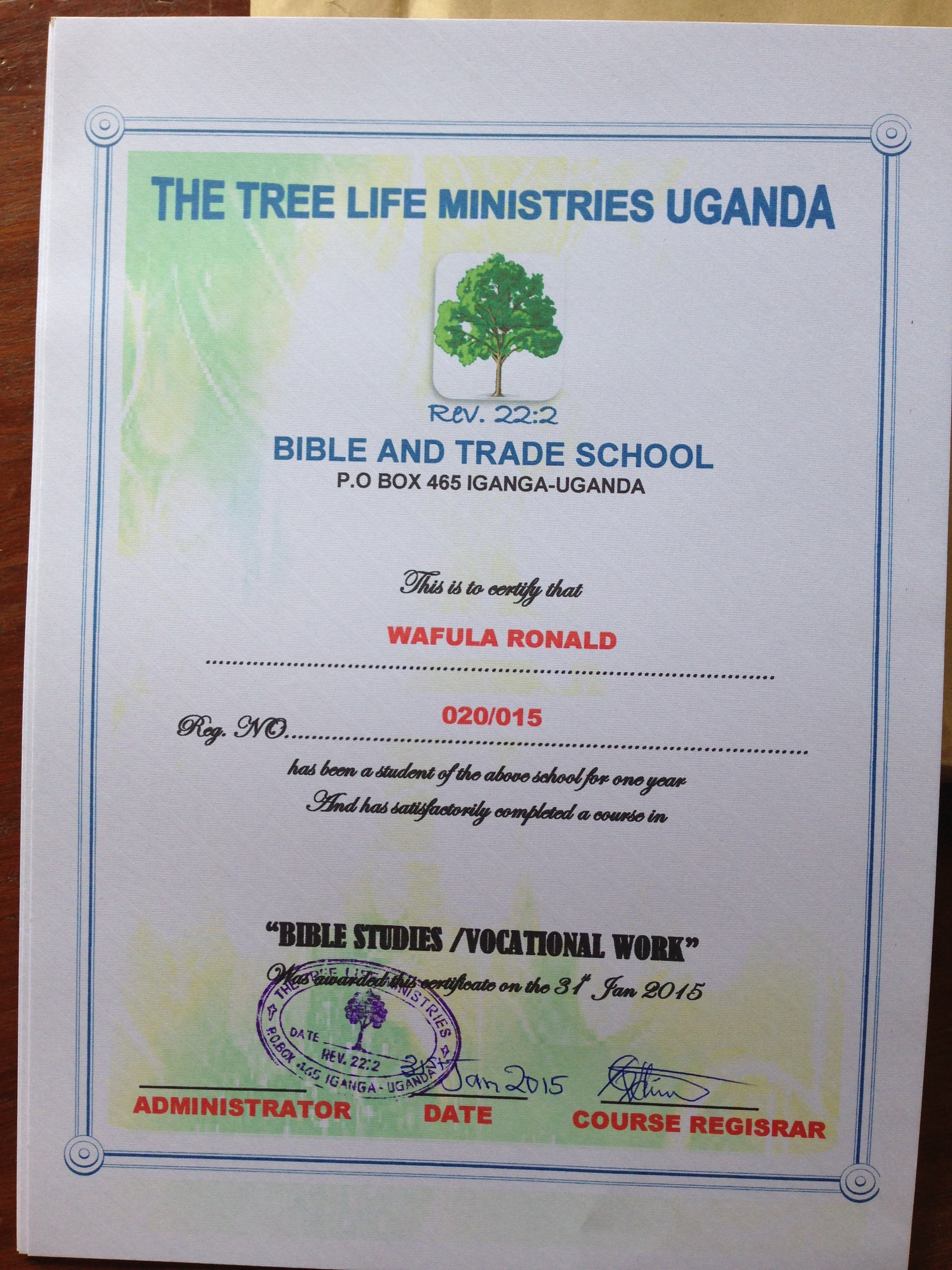 the treelife bible and trade school you sponsor a student in the treelife bible and trade school for 30 month for twelve months the graduation gift of a sewing machine or a bicycle is an